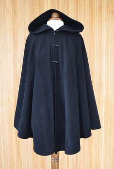 Womens' Black Handmade Hooded Cape / Hooded Cloak