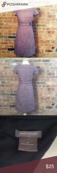 """Ann Taylor Plum and Grey Shift Dress 88% Polyester, 12% Rayon. True to Size. Good condition. No visible marks or wear. Preowned. Bust: 35"""" Waist: 29"""" Hip: 37"""" Ann Taylor Dresses Midi"""