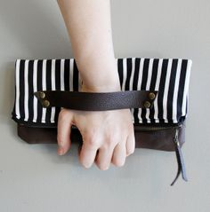 Black and White Striped Clutch with Brown Leather. by piprobins, $54.00