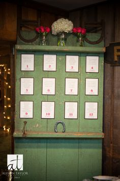 rustic escort station with seating chart from wedding designed by Gracious Events http://graciousevents.com/