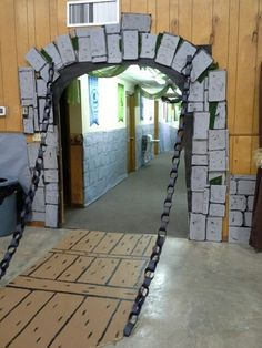 Kingdom Rock castle drawbridge entry way from cardboard and paper chains.