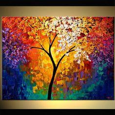Paysage fleurs arbres peinture abstraite acrylique moderne par Osnat - sur commande - 40 « x 30 »