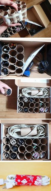 Didi @ Relief Society: Storage for Cords - Very clever idea!