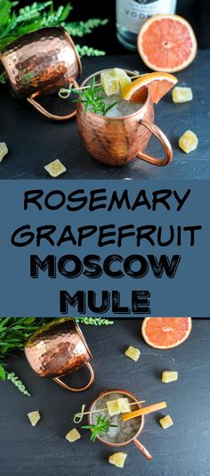 Rosemary Grapefruit Moscow Mule - vodka, lime, rosemary simple syrup and ginger beer, a variation on a classic cocktail #cocktail #herbs #garden #ginger #sugar