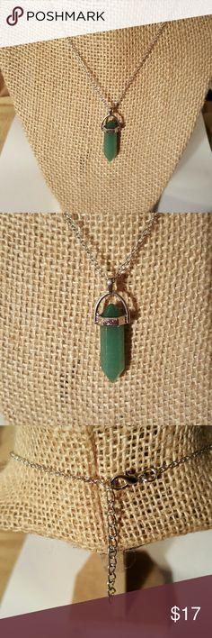 Genuine Jade Stone Pendant Necklace NWOT Genuine Jade Stone Pendant w/White Gold Plated Chain Jewelry Necklaces