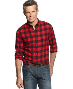 John Ashford Men's Big and Tall Long Sleeve Buffalo Check Flannel Shirt | macys.com