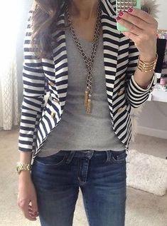 New Women's Fashion Stripe Slim Casual Business Blazer Suit Coat Outwear Winter OL Clothes