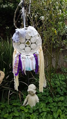 Purple plaid style ribbon, lace, large purple bow, ivy leaf hand made dream catcher Hoop width- 11 inches Height- 27 inches Dream catcher will be shipped carefully within business days :) Happy dreaming :) Dream Catcher Hoops, Ivy Leaf, Plaid Fashion, Lace Ribbon, Dreamcatchers, Crochet Doilies, Leaves, Bows, Christmas Ornaments