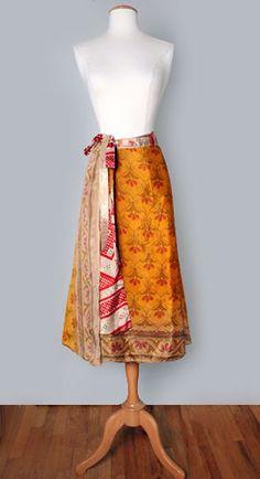 Posh Girl Vintage - 70's bohemian ethnic print wrap skirt