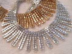 Egyptian Collars in Gold and Silver. Designed and beaded by Sharon A. Kyser http://SharDonExclusives.blogspot.com