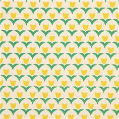 beige canvas flower fabric yellow tulip Kokka Japan