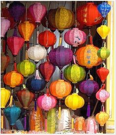 Love the vibrance of these traditional chinese lanterns.