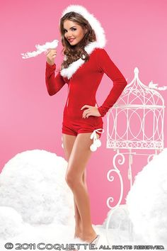 RED WHITE VELVET HOOD ROMPER HOLIDAY COSTUME @ Amiclubwear costume Online Store,sexy costume,women's costume,christmas costumes,adult christmas costumes,santa claus costumes,fancy dress costumes,halloween costumes,halloween costume ideas,pirate costume,d