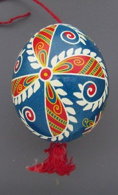 Pysanka, Real Ukrainian Easter Egg Hen Chicken Shell,Geometric Design,Blue M16