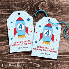Please visit my shop to see all my designs http://paperspice.etsy.com Please click below to see coordinating items for this design http://www.etsy.com/shop/paperspice/search?search_query=space+rocket&search_submit=&search_type=user_shop_ttt_id_5400147&shopname=paperspice This 2.25x3.5 inch Space Rocket party favor tag will be personalized with your choice of name and any age. You will receive via email an 8.5x11 PDF file wit...