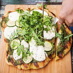 Zucchini-and-Mozzarella Flatbread #recipe