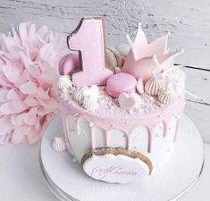 Baby Girl Birthday Cake, Cute Birthday Cakes, Baby Girl Cakes, Cake Baby, Party Cakes, Cake Designs, Cake Decorating, Pink Princess, Trendy Baby