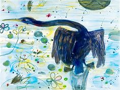 Cormorant and Jacanas, by John Olsen. John Olsen painted the original watercolour and pastel artworks in Sydney in upon his return from Queensland. Limited edition prints available from the SMH and The Age Shops. Australian Painting, Australian Artists, Arthur Boyd, Pastel Artwork, Contemporary Paintings, Online Art, New Art, Amazing Art, Fine Art Prints