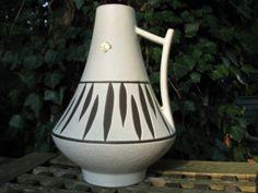 Large Jopeko Mid Century Vase – No. 44/25 – German 1960s Pottery – Black & White w. Label – Vintage Modernist Home Décor – WGP – by H Martin von everglaze auf Etsy