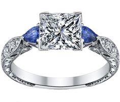 Princess diamond Engagement Ring Blue Sapphire Pear shape side stones Hand engraved White Gold band - ES1103PR