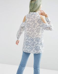 Image 2 of ASOS Cold Shoulder Ruffle Detail Blouse In Paisley