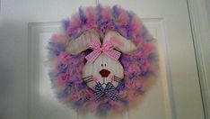 Easter Wreath with Bunny by ScrappyHours on Etsy