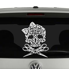 Hairdresser Skull Bow Scissors Vinyl Decal Sticker. Cut from quality Oracal 651…
