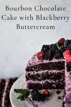 Bourbon Chocolate Cake with Blackberry Buttercream Chocolate bourbon cake with blackberry buttercream frosting Bourbon Cake, Chocolate Bourbon, Chocolate Cake, Homemade Chocolate, Chocolate Desserts, Köstliche Desserts, Delicious Desserts, Yummy Food, Vegetarian Recipes
