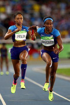 Allyson Felix passes the baton to English Gardner of the United States during… Allyson Felix, Women Athletes, 2016 Pictures, Usa Olympics, Super Women, Rio 2016, Athletic Women, Athletics, Places