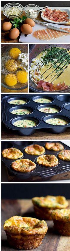 Mini Frittata Cups with Mascarpone and Prosciutto - 15 Amusing Frittata Recipes | GleamItUp