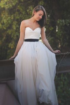 """Ellebay's """"Carina"""" Dress features a beautiful beaded French lace and a skirt composed of 16 yards of chiffon!"""