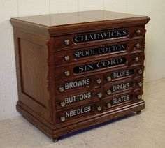 Chadwick's Oak Spool Cabinet Country House Interior, Thread Spools, Sewing Tools, Cabinets, Quilting, Colours, Interiors, Antiques, Furniture
