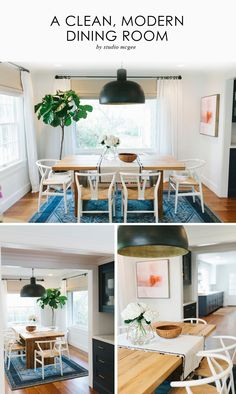 Dining Room, Fiddle Leaf Fig, Farmhouse Table, Wishbone Chairs