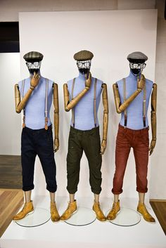 """Hans Boodt Mannequins,Melbourne, Australia Showroom, """"the Aussie triplets are considering growing a full beard"""", pinned by Ton van der Veer"""