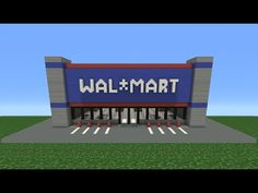Minecraft Tutorial: How To Make Walmart Minecraft Stores, Video Minecraft, Minecraft House Plans, Easy Minecraft Houses, Minecraft House Tutorials, Minecraft House Designs, Minecraft Decorations, Minecraft Tutorial, Minecraft Blueprints