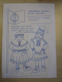 same people coloring Finnish Language, Lappland, Celebration Around The World, Language School, Pre School, Ancient History, Geography, Art Dolls, Folk Art