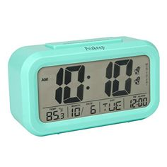 Peakeep Digital Clock with Smart Nightlight, Dual Alarm, Time/Temperature/Date/Day of Week/Alarm Display, Weekday Alarm, Snooze, Battery Operated, Perfect Travel Alarm Clock (Blue)