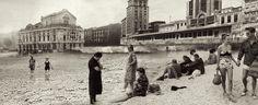 (1969) Clásico día de inundaciones (aguaduchos) en el Arenal bilbaino.