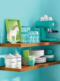 eye catching! colors green blue - Oh, kitchen - here I come