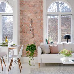 Love the exposed brick wall in this living room courtesy of Living Room Inspiration, Interior Inspiration, Home Living Room, Living Spaces, Living Area, Scandi Living, Scandinavian Living, Scandinavian Interior, Modern Living