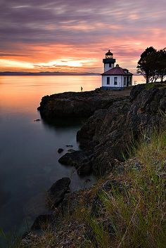 sunset My Favorite Lighthouse! Lime Kiln Lighthouse in the San Juan Islands .. Washington State