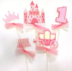 5 Princess Pink With Glitter Themed by ScrapsToRemember on Etsy