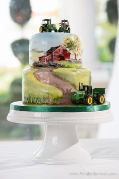 We love this hand painted farm scene for a groom's cake. Perfection. | Cake by Simply Sweet by Jessica | Photo by Paul Retherford Photography