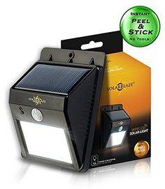 SolarBlaze Bright Solar Powered Outdoor LED Light - Auto ON at Night / Auto B...