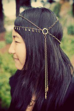 Tribal brass chain headdress, hair chain, headband. $65.00, via Etsy.