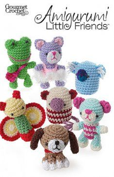 "Amigurumi is a type of crochet for making little toys or figures using basic crochet stitches. Called ""amigurumi"" in Japan, the translation ""knitted doll"", these little crocheted animals and dolls have become a favorite of collectors worldwide. Amigurumi Little Friends Pattern is a fun group of figures that includes Bridgette Bear, Cattarina Ballerina, Malcolm Mouse, Felicia Firefly, Karla Koala, Florian Frog and Bailey Beagle."