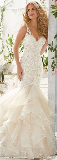 Vintage Pearl and Crystal Beading on Alencon Lace Appliques Over Chantilly Lace onto an Organza and Tulle Flounced Mermaid Gown