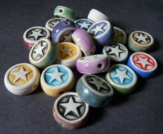 Porcelain Double Sided Beads by RoundRabbit, via Flickr
