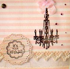 Chandelier Handmade PInk Happy Birthday Card - FREE SHIPPING on Etsy, £4.60