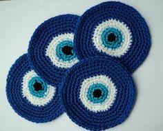 EVIL EYE crochet coaster set